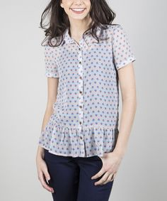Look at this Gray Jovially Button-Up Top on #zulily today!
