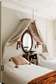 Canopy over twin beds