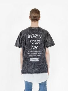 Profound Aesthetic Someday Happy / Sad Distressed Acid Washed Tour Graphic Tee in Black Mineral Wash. Spring Summer 2016 Flight Through the Gardens Collection. http://profoundco.com