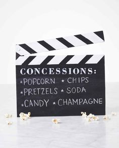 Clapboard Menu for Movie Night DIY Craft Project | Martha Stewart Living — Take your cinema-themed party up a knotch with this cool clapboard.