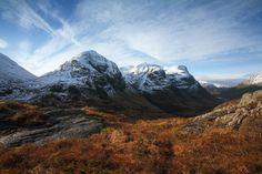 The Three Sisters of Glen Coe are three steeply-sided ridges called Gearr Aonach (Short Ridge), Aonach Dubh (Black Ridge) and Beinn Fhada (Long Hill).