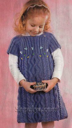 Платье с пайетками для девочки, вязаное спицами