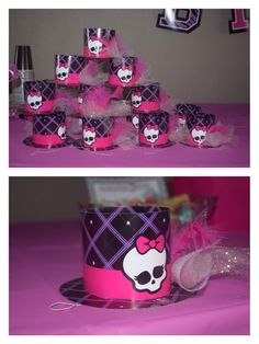 Monster High Birthday Party! Prop ideas. Cute little hat from Party City. Add feathers and glittery tulle. Use for photo both. I made this myself, idea I got from other Pinners.