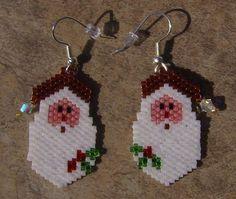 Brick Stitch Santa Earrings