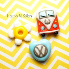 Flower Power and Gasoline, a lampwork glass bead set by Heather Sellers Art Glass #Volkswagen #vw #lampwork