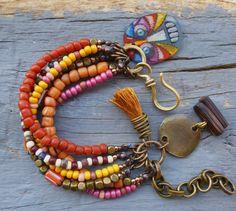 Gypsy, Bohemian, six strand beaded, Tassel bracelet. Rustic, Hippie bracelet. Stacking bracelet..Coin charm bracelet.