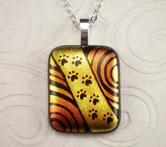 Red Gold Paw Print Dichroic Hand Etched Fused Glass by GoldenGlow