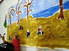 """1ο Νηπιαγωγείο Ηρακλείου Αττικής: Εικαστική δημιουργία εμπνευσμένη από τον πίνακα """"Το μάζομα των ελαιών εν Μιτυλήνη"""" Painting, Art, Art Background, Painting Art, Kunst, Paintings, Performing Arts, Painted Canvas, Drawings"""