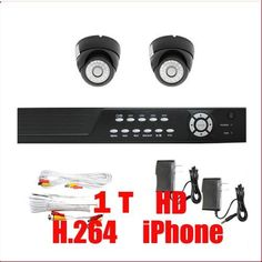 """Complete 4 Channel CCTV DVR (1T HD) Surveillance Network System Package with (2) x 520 TVL  1/3"""" SONY CCD 3.6mm Lens, 26PCs IR LED Waterproof Outdoor or Indoor Security Cameras by Gw. $420.00. Package Includes:      GW2544SV-N DVR with 1T HDD;     Remote Control and mouse;     2 x GW726B - 1/3"""" SONY CCD Camera;     1 x GW60CAW: 60 feet pre-made cable BNC;     1 x GW25CAW: 25 feet pre-made cable BNC;     2 x GW12V0.5A: 12V 0.5A Power Supply for Security Cameras."""