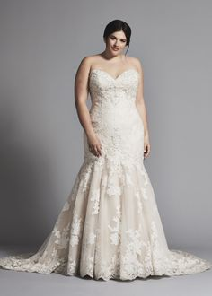 ddf71439bed Strapless lace mermaid wedding dress with tulle skirt in plus size.