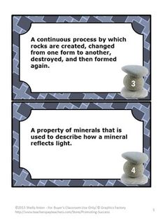 Rocks and Minerals: In this science packet, you will receive 68 rocks and minerals task cards with vocabulary words and definitions.  https://www.teacherspayteachers.com/Product/Rocks-and-Minerals-699103