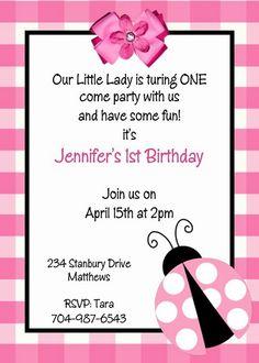 Ladybug Birthday invitation - I like the pink ladybug