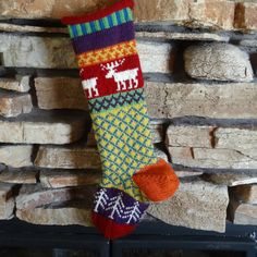 Colorful Christmas Stocking with Moose design!