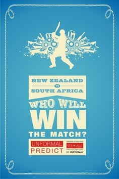 Tomorrow at ‪#‎Auckland‬, ‪#‎Newzealand‬ plays against ‪#‎SouthAfrica‬.Predict & tell us which team will ‪#‎win‬ the match. ‪#‎UnformalCricket2015‬ ‪#‎contest‬