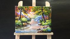 1:46:07 Deer Drinking Stream Water Acrylics Painting