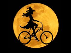 Witch bicycle Halloween Design, Happy Halloween, Witch Cat, Art Quotes, Bicycle, Embroidery, Cats, Painting, Outdoor