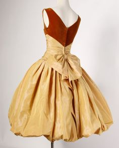 Vintage 1950s 50s Butterscotch Silk Taffeta Velvet Formal Cocktail Bubble Dress | From a collection of rare vintage evening dresses at https://www.1stdibs.com/fashion/clothing/evening-dresses/