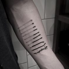 Abstract, black and white, dotwork, arm tattoo on TattooChief.com