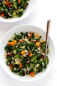 Autumn Kale Salad with Sweet Potatoes, Broccoli and Brown Rice -- a hearty, easy dinner made with my favorite fall flavors! | gimmesomeoven.com