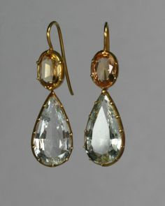 "Two earrings supposedly from the Regency era (both ca. 1810), although they look rather earlier to me! Particularly the second example. Still, that first pair would be so easy to find in modern stores as an easy solution to the ""period look""!"