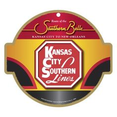 """Our Kansas City Southern Railroad Logo Plaque, which features formally authorized Kansas City Southern railway symbol, was created by well-known railway artist Peter A. Lerro, Jr. and is perfect for train fans of all ages. Each Kansas City Southern Railroad Logo Plaque is 10"""" round and made of a medium density fiberboard that is environmentally safe. The  Kansas City Southern Railroad Plaque is about 1/4 inch thick and comes with a pre-cut hole for easy hanging. $14.95"""