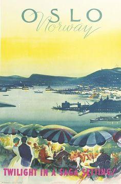 Oslo - Norway - Twilight in a saga setting ! 1959 - (Knut Yran) -