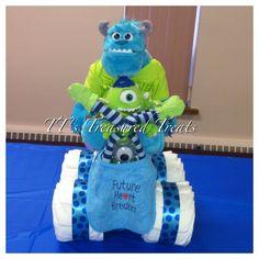 Diaper 4 wheeler for Monster Inc Baby Shower