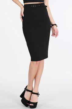 Self Covered Belt Pencil Skirt