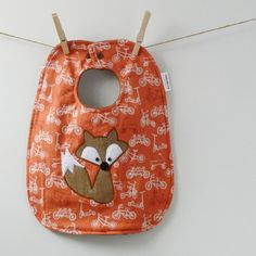Fox Baby Bib on Orange Bicycles  Appliqued Bib with by HipViolet, $18.00