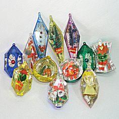 Dozen Lot Jewel Brite 1960s Plastic Christmas Ornaments