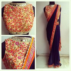 Mirror work and embroidery mix sari in navy blue. Orange and pink accents. Waidurya find us at www.facebook.com/waidurya for orders:
