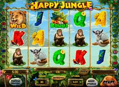 Happy Jungle pokies machines have 5 reels, 20 paylines, Wild symbols and Scatter. There is a bonus game that allows you to receive in addition to winning free spins, as well as a round of doubling, which has a chance to multiply the prize. Madagascar, Free Slots, Slot Online, Slot Machine, Online Casino, Money, Happy, Animals, Wild Animals