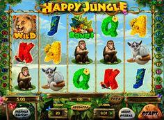 """Hedelmäpeli Happy Jungle raha. Happy Junglelinjoilla hedelmäpeli esittelee pelaajien maailmaan villieläinten viidakon. Monet pelaajat kutsuvat sitä """"Madagaskar"""". Se on 5 kiekkoa, 20 voittolinjaa, Wild symbolit ja Scatter. On bonus peli, jonka avulla voit vastaanottaa lisäksi voittaa ilmaispyöräytyksiä, sekä kierros kaksinke"""