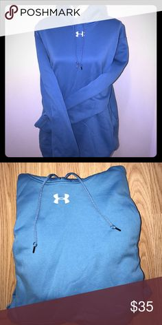 UNDER ARMOR SWEATSHIRT WITH HOOD NWOT PRETTY BLUE, size large, warm! Under Armour Sweaters