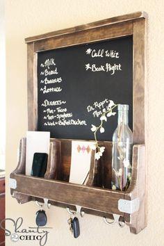 DIY Chalkboard Message Center ... Maybe whiteboard or magnetic board instead of chalkboard?