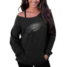 Philadelphia Eagles Women's Sideliner II Crew Sweatshirt – Black