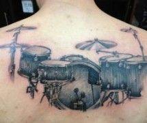 Drum set back tattoo ~ Generation Ink