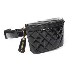 Pre-Owned Chanel Fanny Pack Belt Bag Black Patent Leather Quilted Go ❤ liked on Polyvore featuring bags, belt bag, fanny pack bags, patent leather bags, waist bags and hardware bag