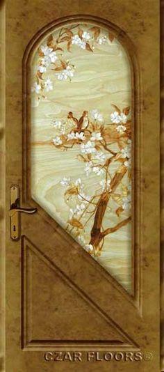 Wood inlays theater entry door idea