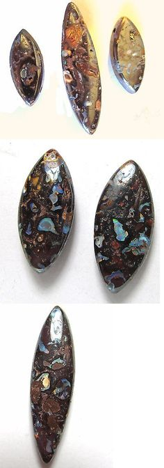 Boulder Opals 181111: Boulder Opal 3-Pc Set, Side Drilled At Top, Conglomerate Pattern, High Polish -> BUY IT NOW ONLY: $99.95 on eBay!