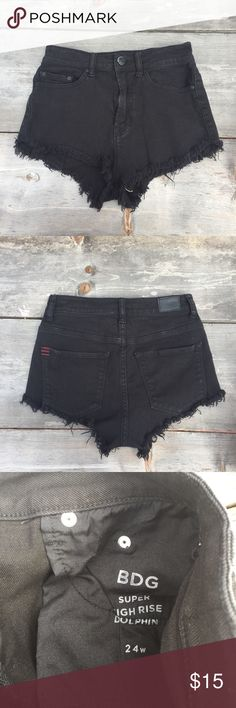 "BDG BLACK SHORTS DOLPHIN HIGH WAIST SZ 24 BDG BLACK SHORTS DOLPHIN HIGH WAIST SZ 24- HIGH RISE CUT OFF FRAY -WAIST 12"" BDG Shorts Jean Shorts"