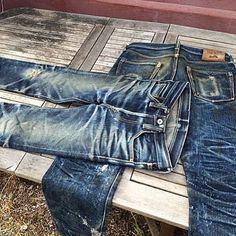 Iron Heart incredible fade #denim #jeans #Indigo #selvedge #honeycomb #menswear #rugged #pant #clothing #mode #style #fashion #inspiration