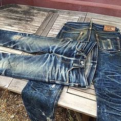 Iron Heart incredible fade #denim #jeans #Indigo #selvedge #honeycomb #menswear #rugged #pant #clothing #mode #style #fashion #inspiration