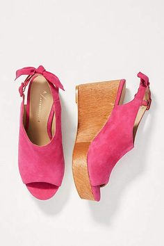 a279b5b5248b Anthropologie Bow-Back Wooden Wedge Sandals Wedge Sandals