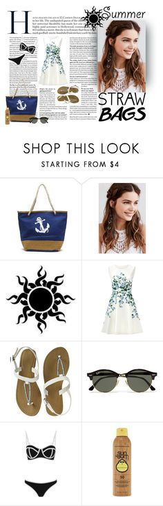 """""""Straw Bags on Summer"""" by aluada-di-angelo ❤ liked on Polyvore featuring REGALROSE, ERIN Erin Fetherston, Ray-Ban, South Beach, Forever 21 and strawbags"""