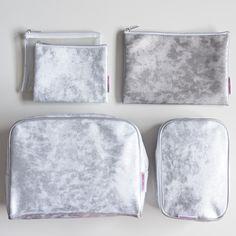 Silver metallic cosmetic bags