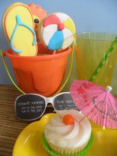 beach cookies, beach party, beach party cupcakes, beach party ideas