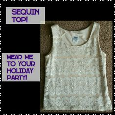 Sequin mesh holiday top! Sequin mesh holiday top! Where me to your next holiday party! Perfect condition size 8 petite beautiful lace mesh sequin detail. Tops