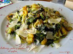 cousas de milia: Tallarines con gambas y grelos al azafrán Pasta, Potato Salad, Cabbage, Food And Drink, Potatoes, Chicken, Vegetables, Cooking, Healthy