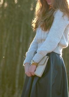 Sweater and a skirt.